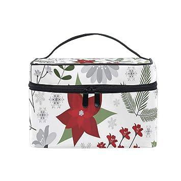 7d6d48cd6f35 Amazon.com : Decorative Christmas Flower Travel Makeup Cosmetic Case ...