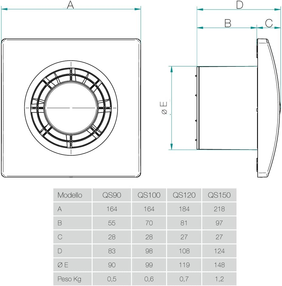 QS90 de Aerauliqa code 003171 Aspirateur axial diam/ètre 90 mm 60 m3//h 8 W