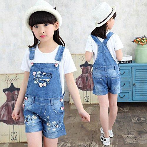 Kidscool Girls Sweet Flower Jeans Shortalls