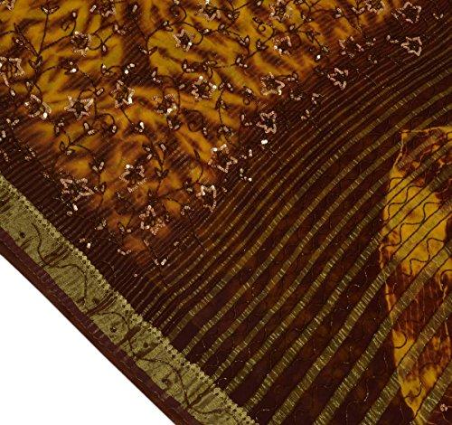 Georgette Beaded Silk - VTG Sari 100% Pure Georgette Silk All Over Beaded Heavy Tie & Dye Saree Fabric