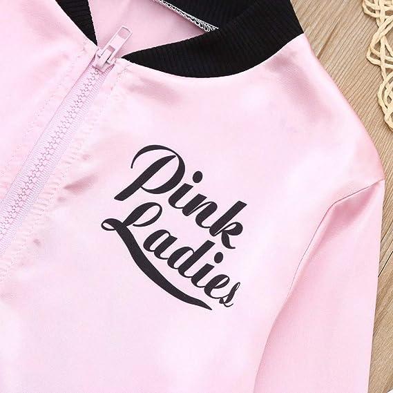 Amazon.com: Fiaya Little Girls 1950s Pink Ladies Jacket ...