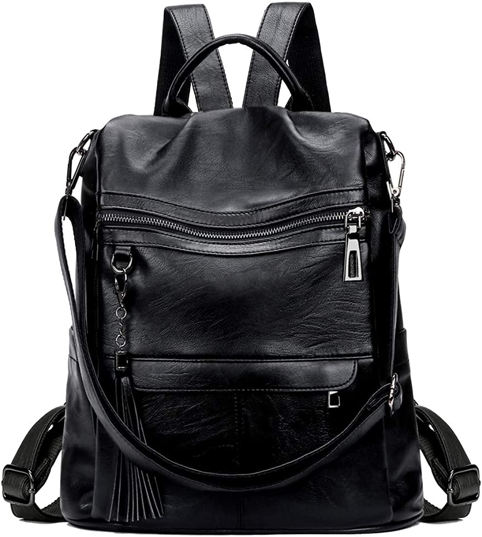 Mynos Anti-theft Backpack Purse For Women PU Leather Tassel Fashion Ladies Travel Daypack Rucksack Shoulder Handbag Tote