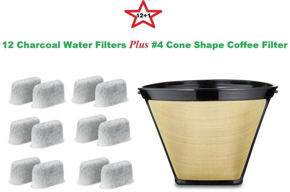 #4 Cone Shape Permanent Coffee Filter & a set of 12 Charcoal Water Filters for Cuisinart DCC-RWF1 Coffeemakers by True Modern Electronics