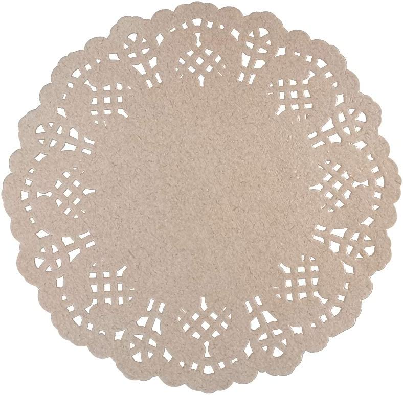 Omin DIY Disposable Round Brown Paper Doilies Lace Design Size 5.5 Inch Pack of 100