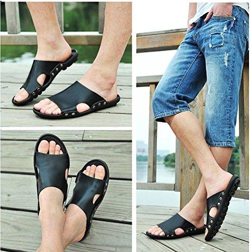 Xing Lin Sandalias De Hombre Prendas De Vestir Para Hombres Zapatillas De Playa En Verano, Sandalias De Cuero Deslizante Chanclas Flip Flop Sandalias De Los Hombres De Verano black