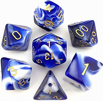 FLASHOWL Dados de Doble Color, Dados DND Juego de Dados poliédricos Juegos de Mesa Dados (7 Piezas, Azul y Blanco): Amazon.es: Juguetes y juegos