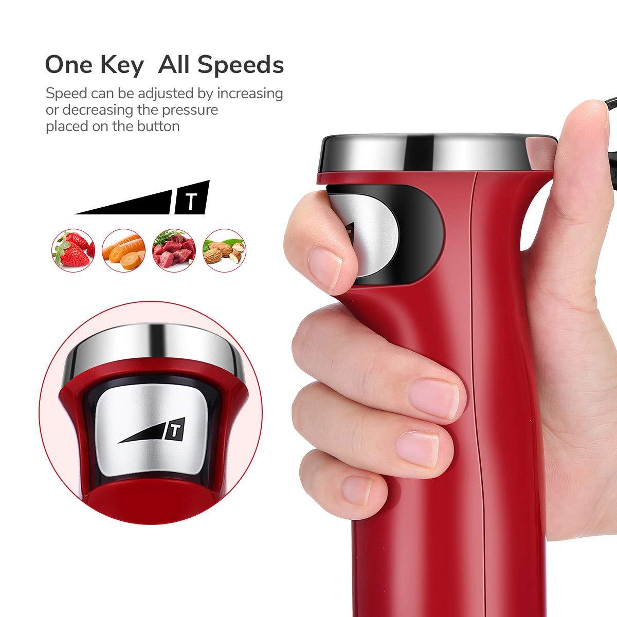 Immersion Hand Blender, Hand Held Stick Blender Emersion Blenders, 2 in 1 Endless Speed Multi-Purpose Immersion Blender with Whisk, 500 Watt, Red