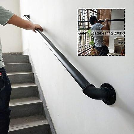 Barandilla de Escalera Negra rústica, barandilla del Pasillo Pasamanos Pasarela de Seguridad para Interiores y niños Barandillas de Hierro Tubo Industrial de Hierro Forjado: Amazon.es: Hogar