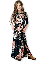 21KIDS Girls Long Sleeve Round Neck Floral Printed Holiday Dress Size 6-12