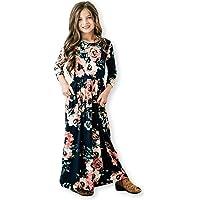 8c1e94e0d541 Girls Maxi Dress,Kids Floral Casual T-Shirt 3/4 Sleeve Dresses with