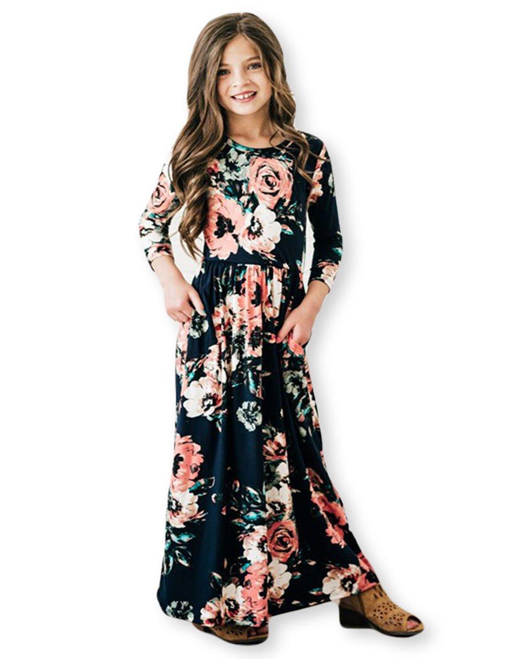 21KIDS Girls Floral Flared Pocket Maxi Three-Quarter Sleeves Holiday Long Dress, Black, 8 Years