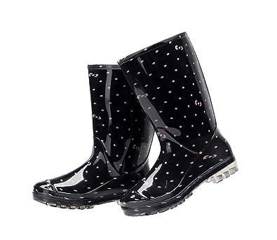 56967595ccfd0 Womens Rain and Garden Boot Wellies Half Calf Rubber Rainboots Floral  Printed Waterproof for Garden Women