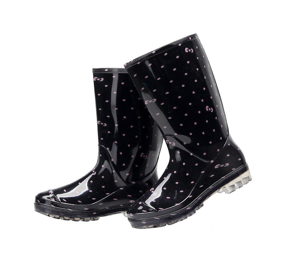 Kontai Womens Rain and Garden Boot Wellies Half Calf Rubber Rainboots Floral Printed Waterproof for Garden Women rain Footwear Size 7.5