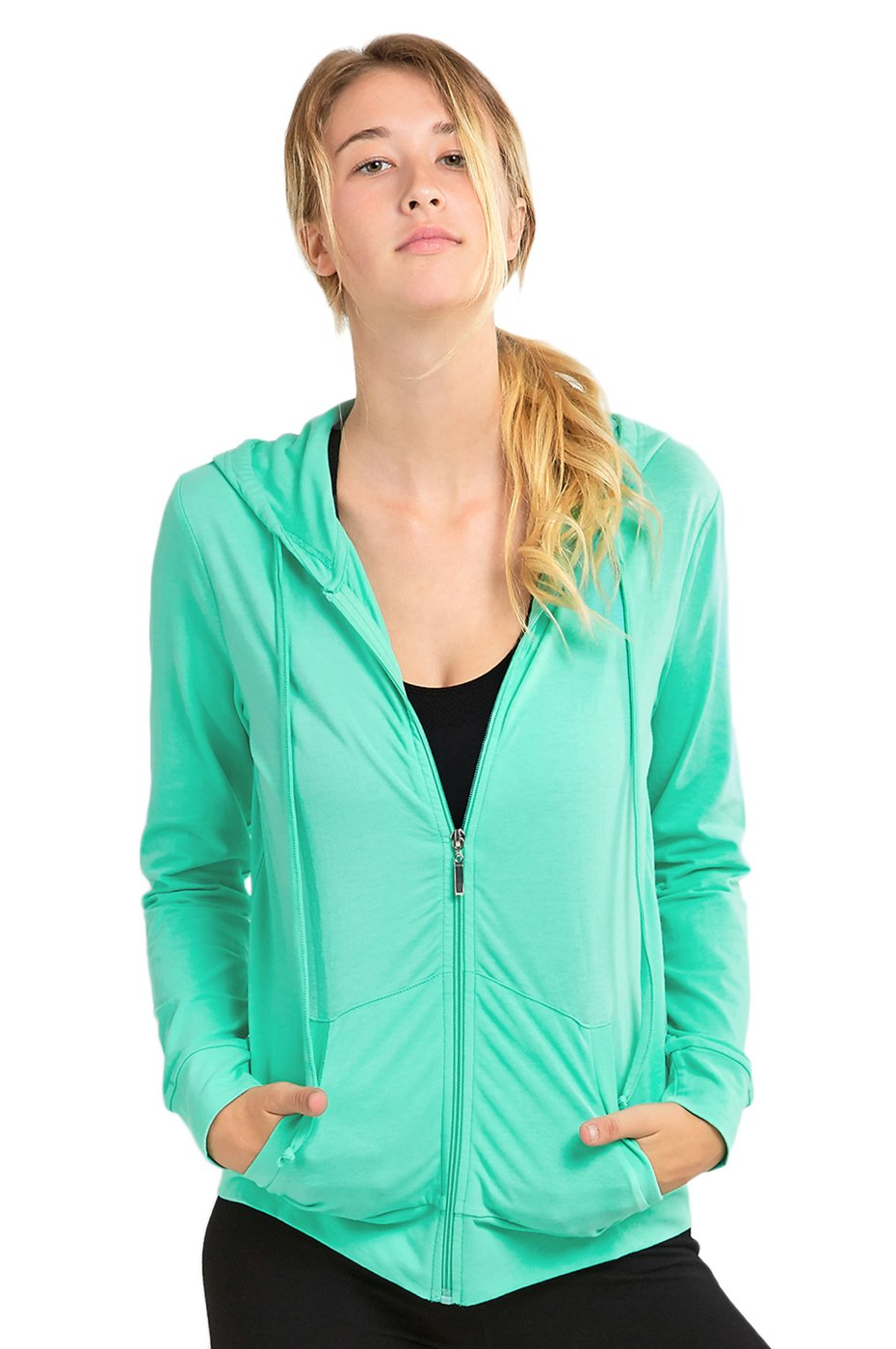 Sofra Women's Thin Cotton Zip-Up Jacket with Hoodie (M, Mint)
