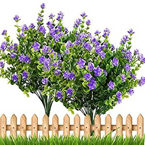MARJON Flowers4pcs Fake Plants Artificial Greenery Shrubs Eucalyptus Branches with Purple Baby's Breath Flower Plastic Bushes House Office Garden Patio Yard Indoor Outdoor Decor 33