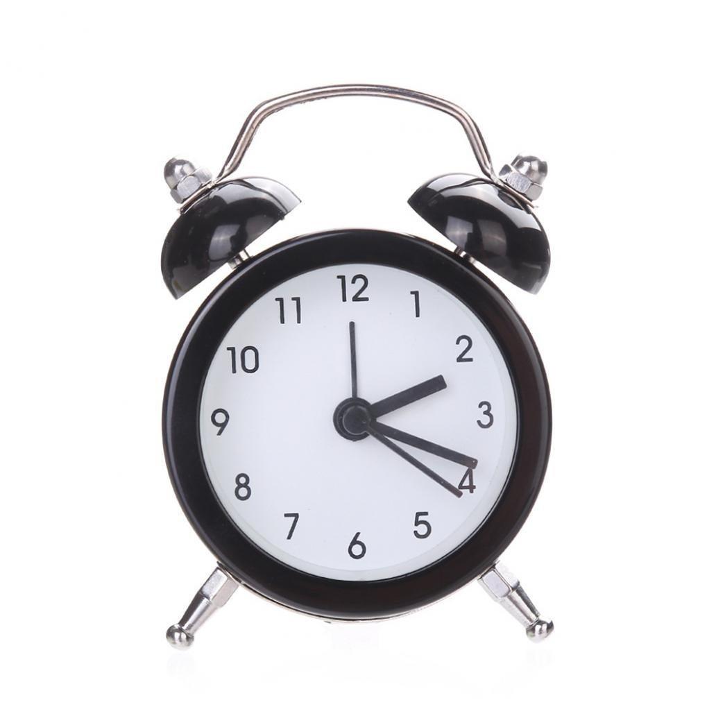 ZHOUBA mini retro Quiet silenzioso senza ticchettio con lancetta dei secondi a doppia campana, sveglia da comodino, metallo, Purple, taglia unica