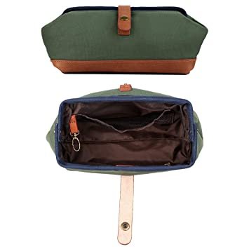 2ce186069217 Wide Opening Toiletry Bag High Density Canvas with First Layer Vegetable  Tan Leather Trim Cosmetic...