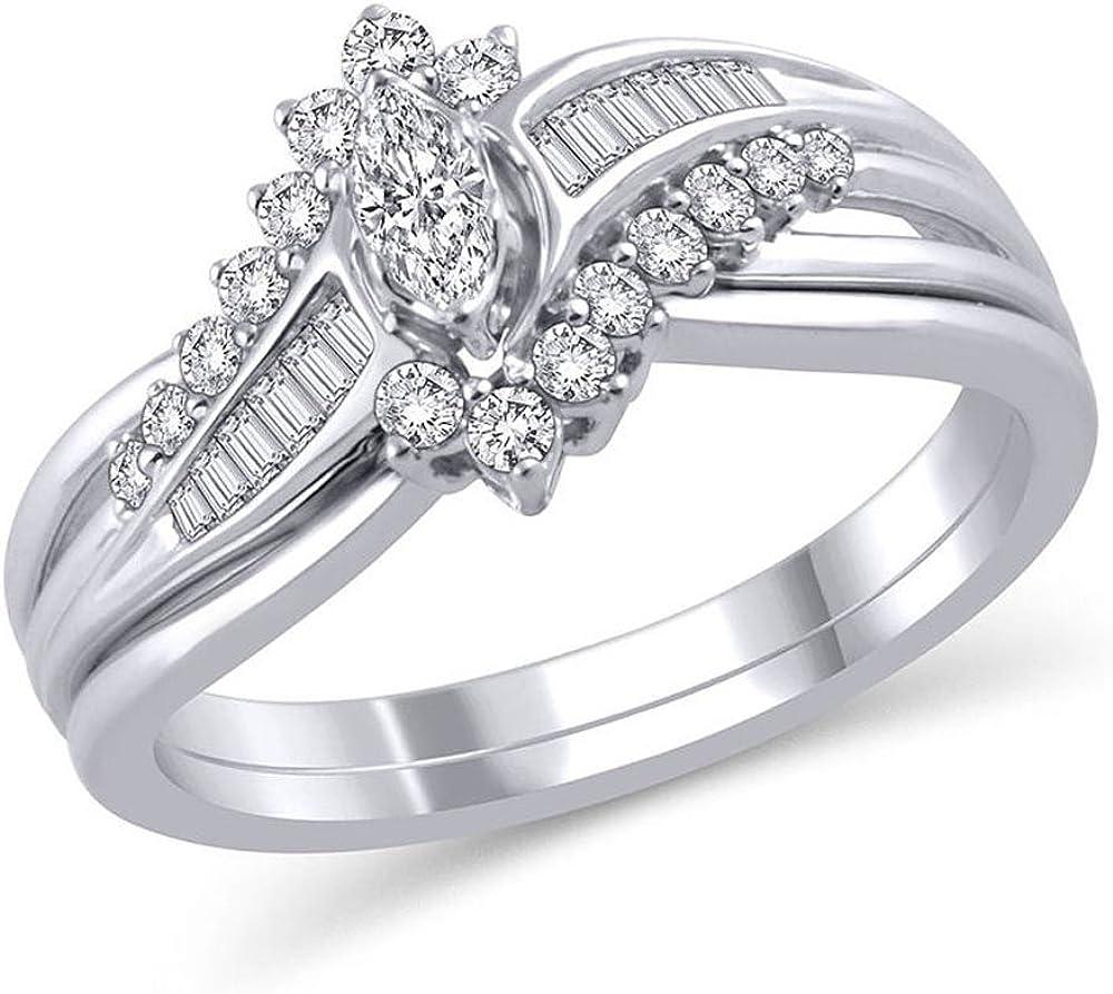 2 Ct Engagement Wedding Ring Set Marquise Cut Diamond 14k White Gold Finish