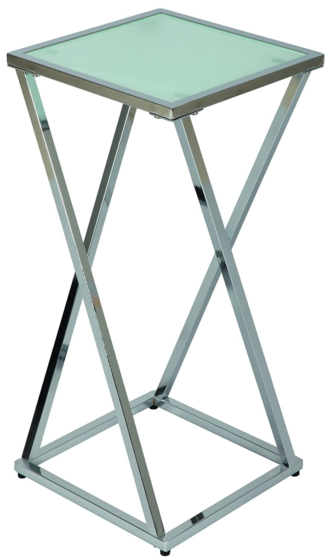 PEGANE Sellette Moyenne en Acier chromé et Verre sablé trempé - Dim : H 650 x L 300 x l 300 mm