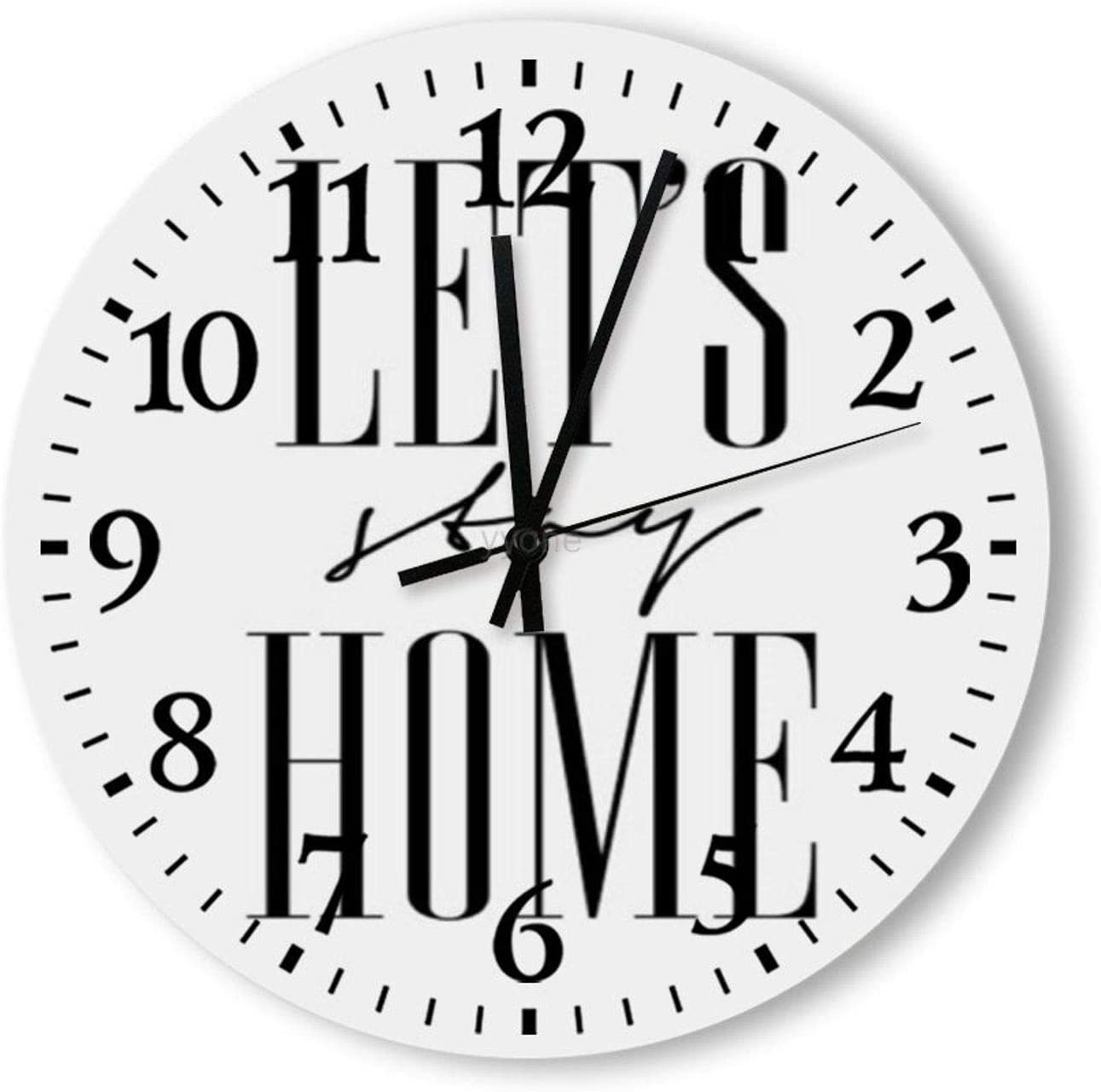 yyone Wooden Wall Clock - Let's Stay Home Print Decorative Round Wooden Wall Clock 12 Inch for Room, Office, Kitchen Home Decor