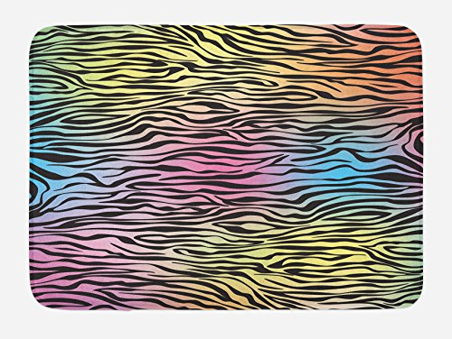 Ambesonne Zebra Print Bath Mat, Colorful Zebra Pattern Animal Wilderness Themed Stylized Artwork Print, Plush Bathroom Decor Mat with Non Slip Backing, 29.5 W X 17.5 W Inches, Yellow Coral Pink by Ambesonne
