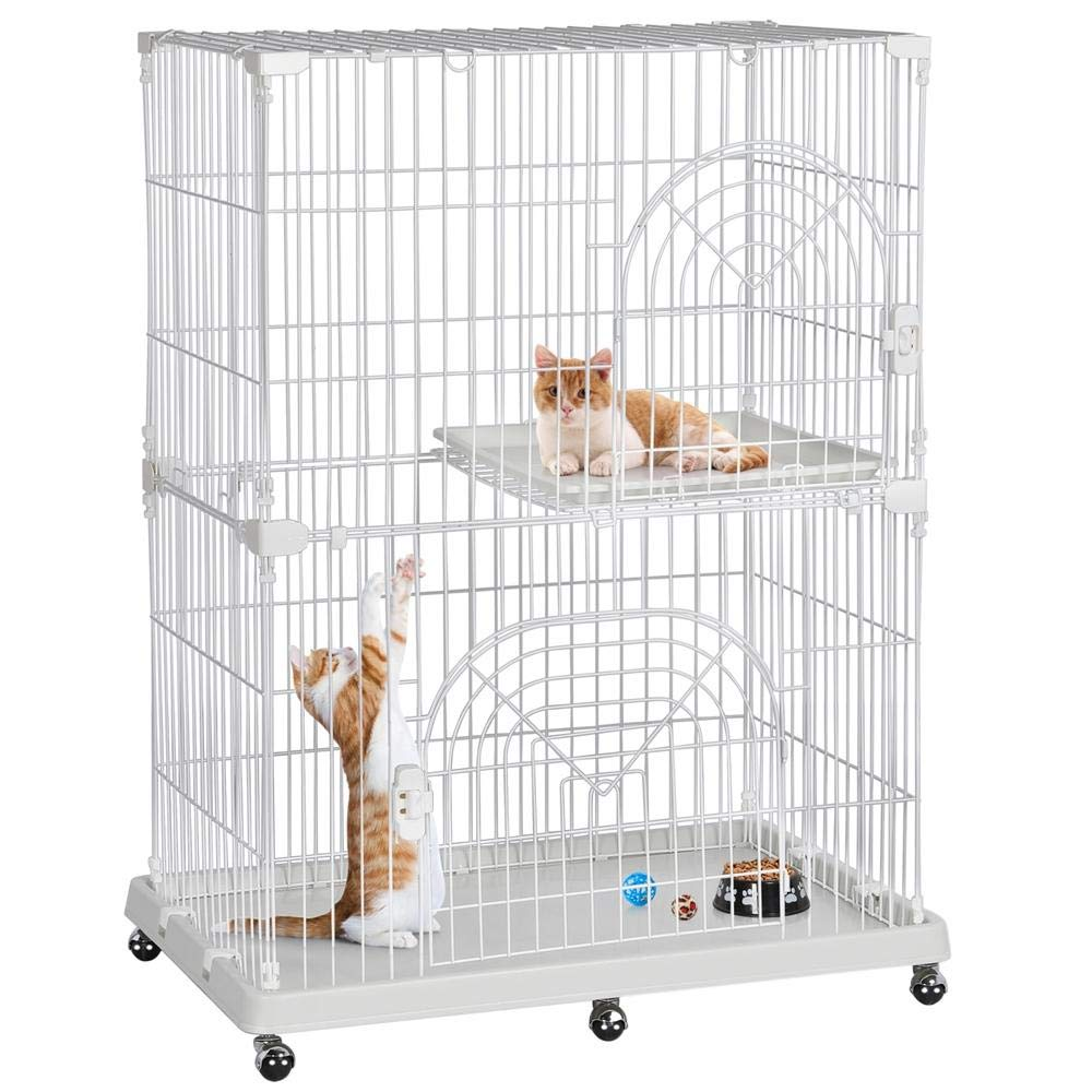 Yaheetech 2-Tier Large Wire Pet Cat Kitten Cage Crate Playpen Enclosure with Shelves Indoor by Yaheetech