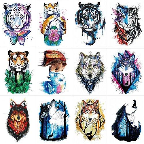 WYUEN 12 PCS Arm Animals Tattoos Temporary Tattoo Sticker for Women Men Fashion Body Art Waterproof Hand Fake Tatoo 21X15cm FW12-34 -
