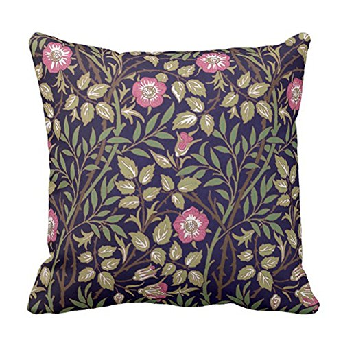 SPXUBZ William Morris Sweet Briar Floral Art Nouveau Vintage Pillow Cover Decorative Home Decor Nice Gift Square Indoor/Outdoor Pillowcase Size: 20x20 Inch(Two Sides) ()