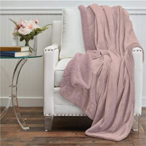 The Connecticut Home Company Micromink Velvet with Sherpa Reversible Throw Blanket, Many Colors, Soft Large Wrinkle Resistant Blankets, Hypoallergenic Washable Couch or Bed Throws, 65x50, Dusty Rose