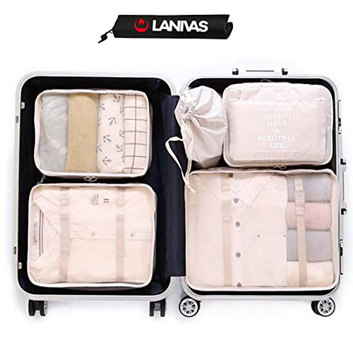 38e6586fb507 Lanivas 7 Set Packing Cubes for Travel - Luggage Organizers with Shoe Bag