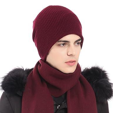 ea602e58 Image Unavailable. CACUSS Men's Soild 100% Australian Merino Wool Knit  Beanie Hat Warm Skull Caps Headwear(