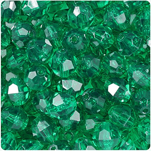 12mm Green Bead Round - BEADTIN Emerald Green Transparent 12mm Faceted Round Craft Beads (150pc)