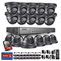 ANNKE 32CH 5 IN 1 DVR Surveilance Camera System with 16 x HD 1.3MP IP66 Metal Weatherproof Dome Camera, 100ft Night Vision, Motion Detection, Remote Playback, One 2TB HDD Included