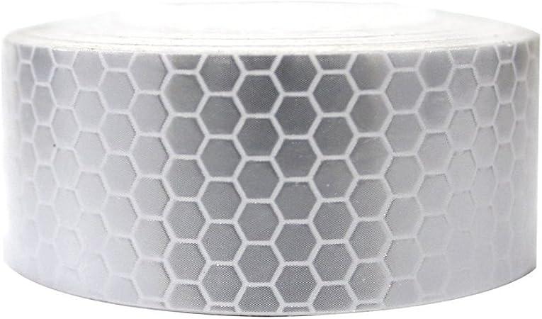 Maiqiken 1 Rolle Reflektor Streifen Weiße Selbstklebende Für Auto Lkw Anhänger Sicherheit Warnung Reflektorband Tape Aufkleber 5cm X 3m Auto