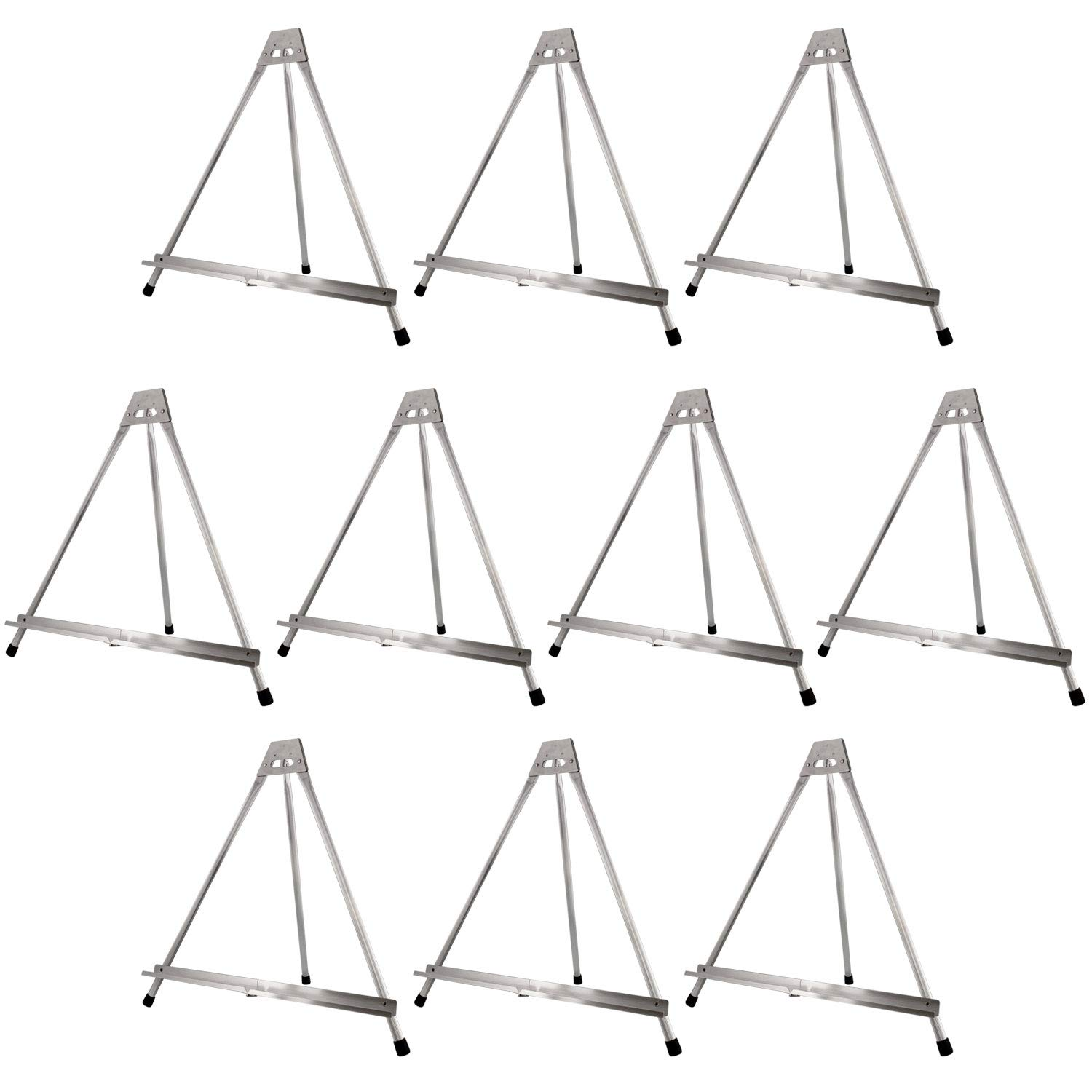 US Art Supply Aluminum Tabletop Easel Tri-Pod Display Table Top Design with Rubber Feet 10-Easels (Large - NO Arms)