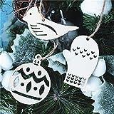 3pcs Christmas Tree Ornament Wooden Christmas Hanging Pendants Tree Reindeer Sock Bird Bell Shape Wooden Christmas Tree Decoration Ornaments (C)