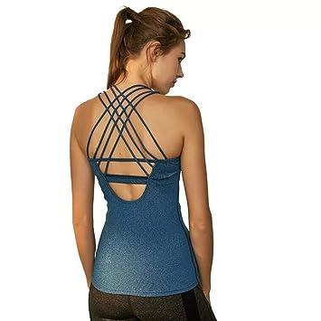 POUREVE Camiseta Sin Mangas Deportiva Sujetador para Mujer 2 en 1 Chaleco Deportivo Azul Mujer Secado Rápido Camiseta Top Deportivo Mujer: Amazon.es: ...