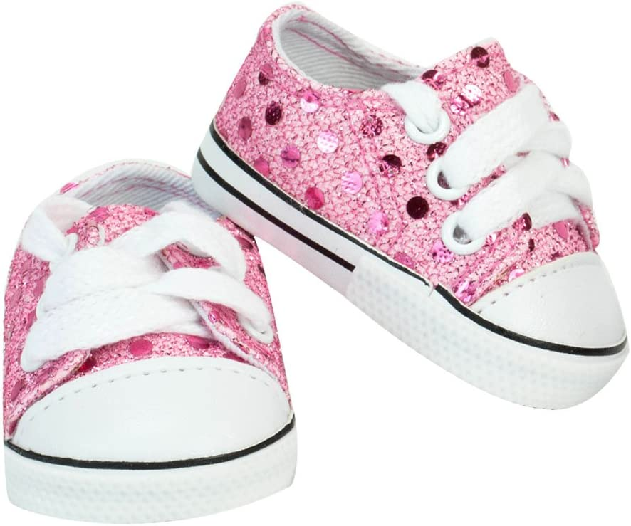 2pr Canvas Sneakers 1 pr Pink 1 pr Blue  Fits 18 inch American Girl Dolls