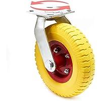 Wiltec Ruota da Trasporto Anti-Foratura 215x55mm con Supporto ruotante e Disco in Metallo