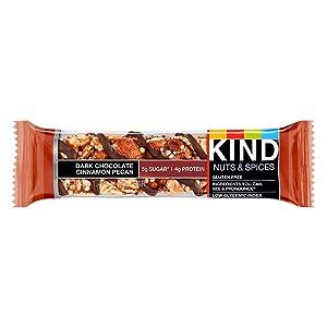 KIND Bars, Dark Chocolate Cinnamon Pecan, Gluten Free, Low Sugar, 1.4 Oz, 12 count