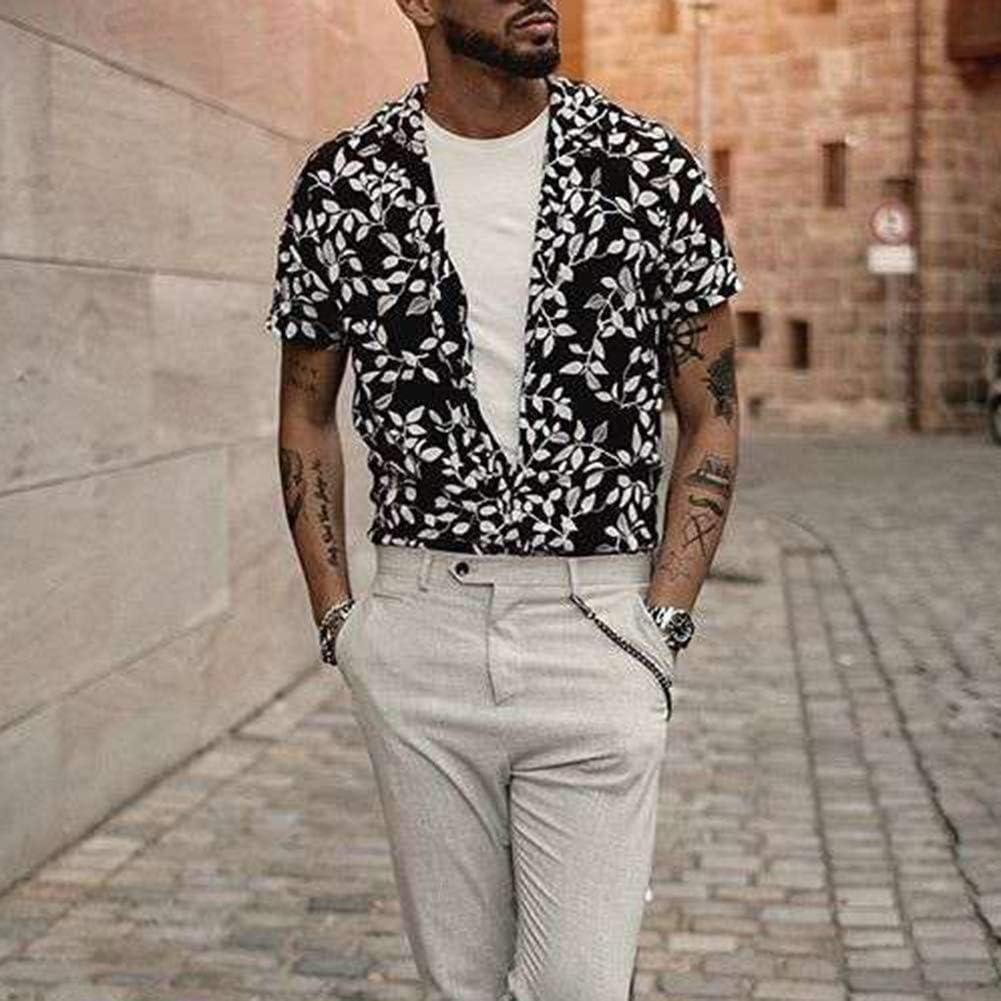 tbpersicwTHawaiian Leaves Print Men Short Sleeve Turn Down Collar Shirt Summer Holiday Top XL