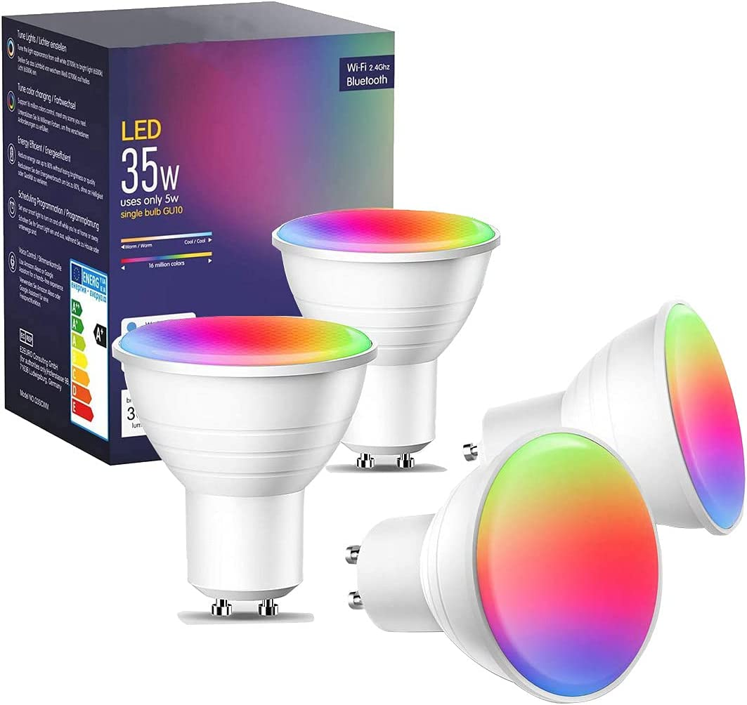 FRANKEVER Smart LED Light Bulbs WiFi Spotlight GU10 Base 120V, RGBCW Dimmable Color Changing,Compatible with Alexa, Google Home, IFTTT,No Hub Required (GU10-H, 4 Pack)