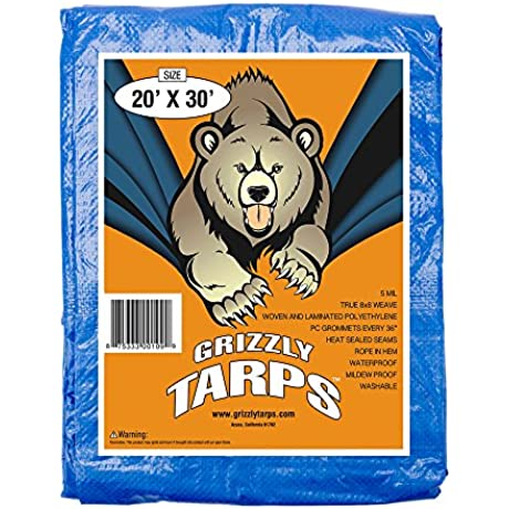 Grizzly Tarps 20 X 30 Feet Blue Multi Purpose Waterproof Poly Tarp Cover 5 Mil Thick 8 X 8 Weave