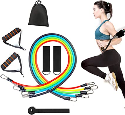 11PC Resistance Bands Set Workout Bands Door Anchor Handles Ankle Straps 100 lbs