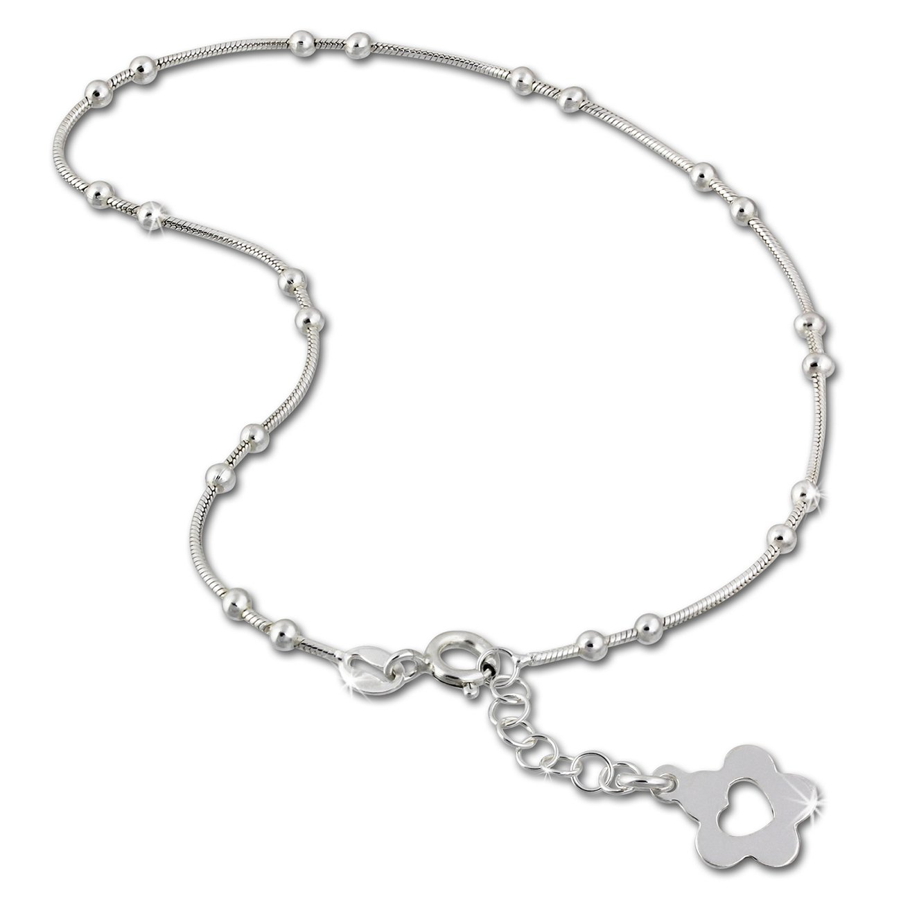 SilberDream bijoux collection - chaîne de pied fleur ouvert - longeur env. 25, 5cm - Bracelet de cheville SDF2105 SDF2115