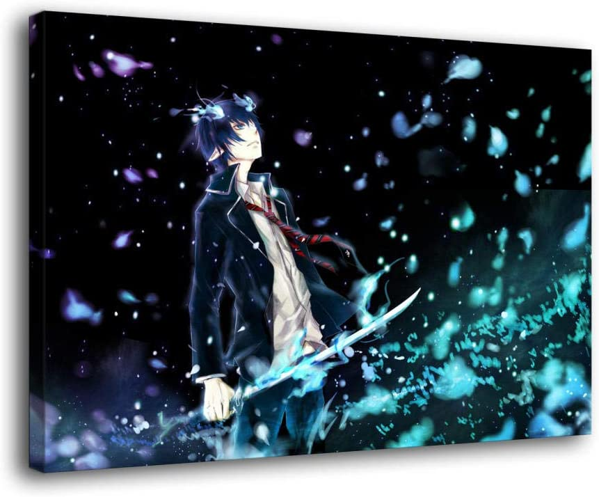 Amazon Com Zhangwei Blue Exorcist Poster Canvas Wall Art Japanese Cartoon Posters For Bedroom Walls Aesthetic Living Room Modern Office Decor Picture Home Kitchen