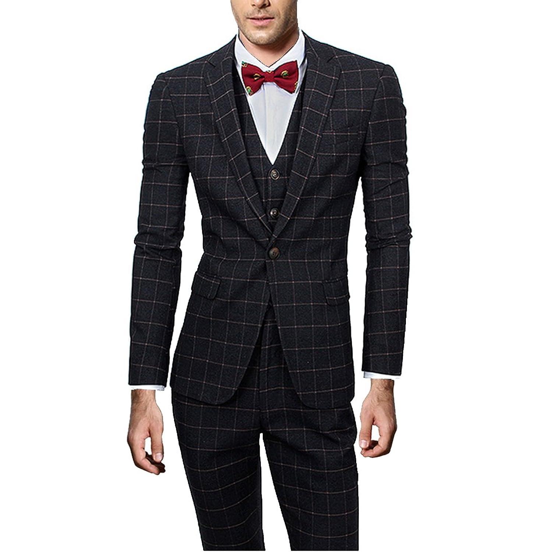 LIANIHK Plaid Slim Fit 3-Teilig Business Herrenanzug Smoking Blazer+Hosen+Weste