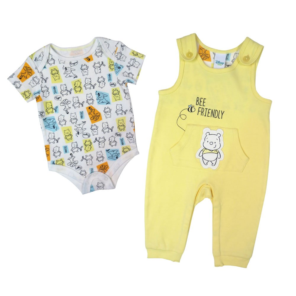 Disney Kid's Pooh Overall/Creeper Set, Yellow, 6M DS18NU488