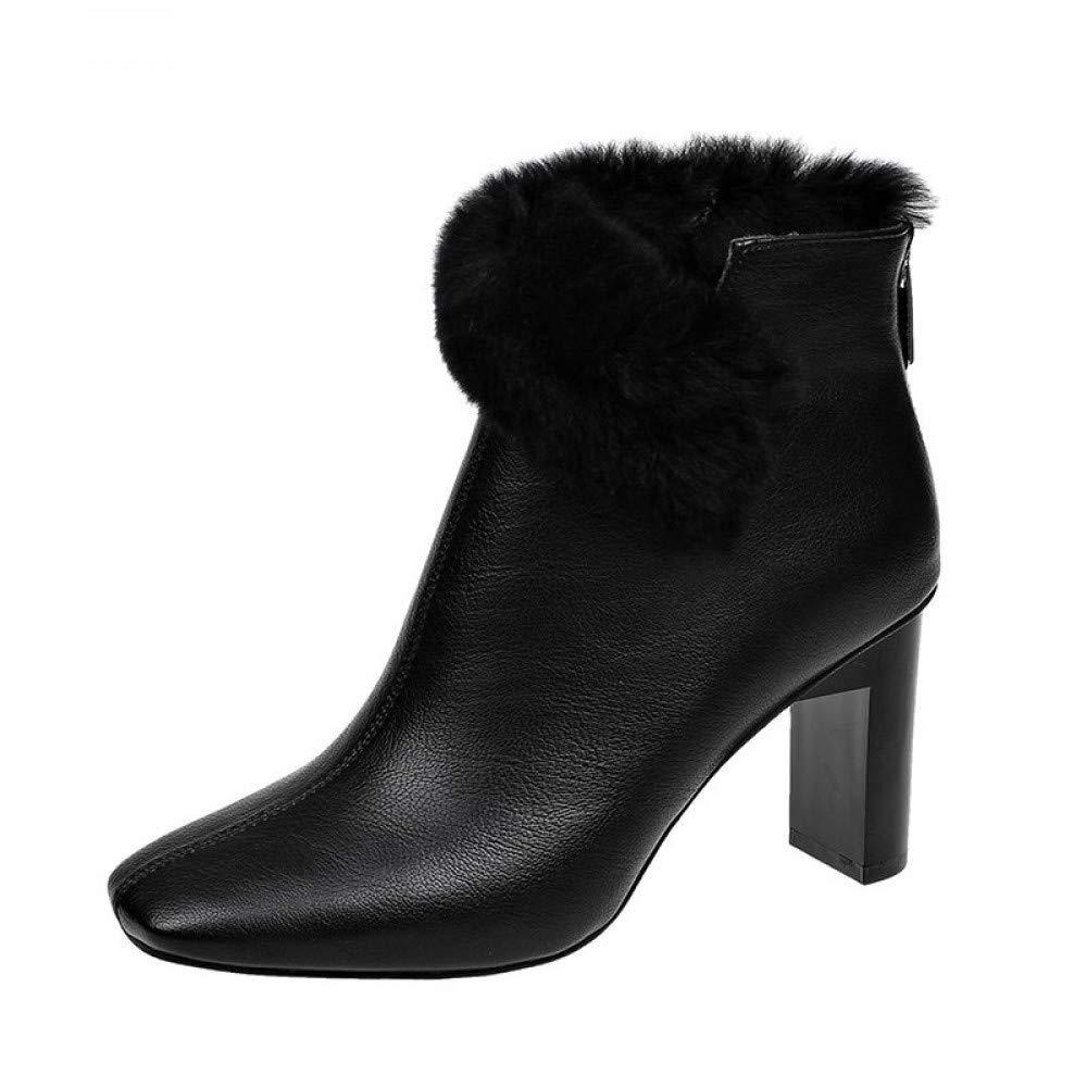 PINGXIANNV Herbst Winter Square High Heels Damen Schuhe Frau Stiefel Warme Mode Femme Damen Stiefel