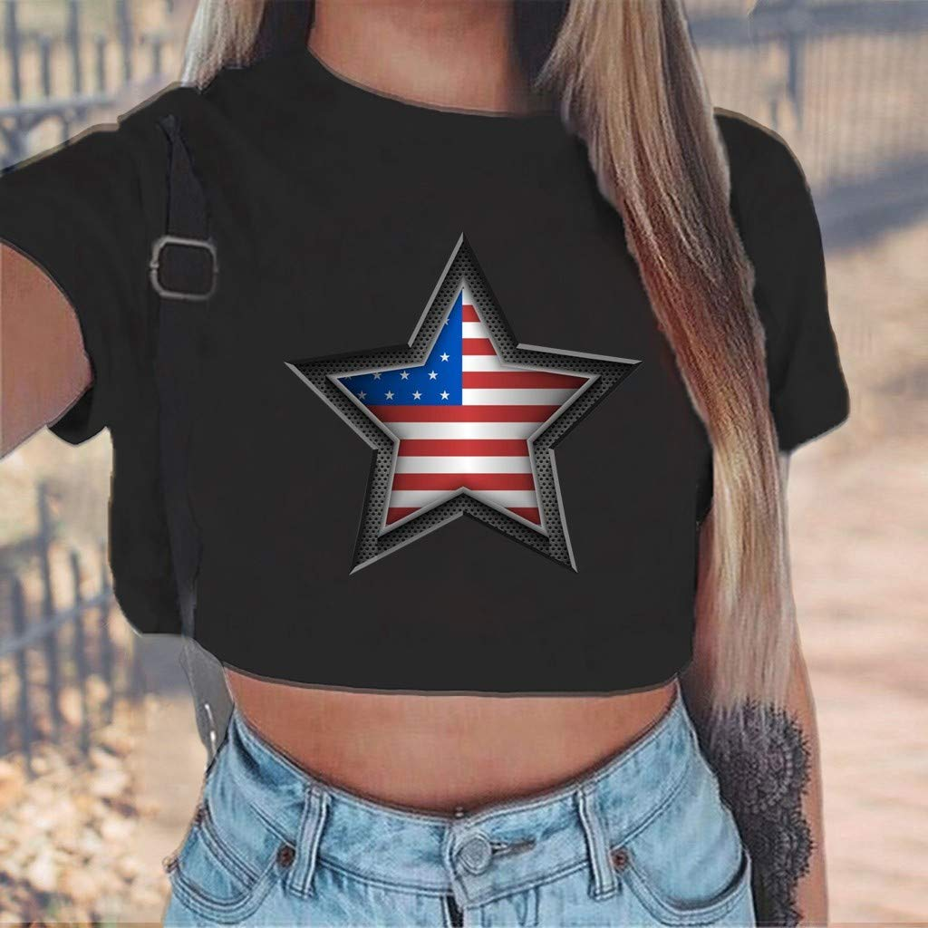54aa296eb Amazon.com: Franterd Star Print Short Crop Tops, Women American Flag Basic  Plus Size T-Shirt 4th of July Patriotic Tank Top: Sports & Outdoors